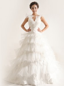 Beauteous Chiffon Sleeveless With Train Bridal Gown Brush Train and Ruffled Layers