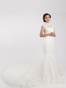 Chiffon High-neck Short Sleeves Chapel Train Clasp Handle Lace Wedding Dresses in White