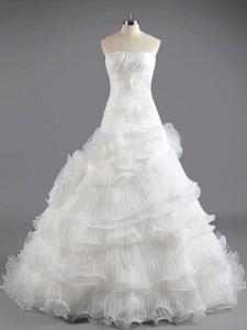 Glamorous With Train Lace Up Wedding Gown White for Wedding Party with Ruffled Layers Court Train