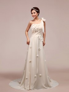 One Shoulder White Chiffon Lace Up Wedding Gowns Sleeveless With Brush Train Ruching and Hand Made Flower
