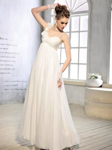 Gorgeous White Sleeveless Floor Length Ruching and Hand Made Flower Lace Up Wedding Gowns