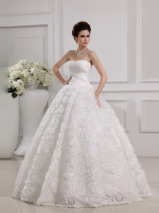 Great Sleeveless Lace Up Floor Length Lace Wedding Dress