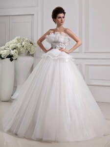 White Sleeveless Beading Floor Length Bridal Gown