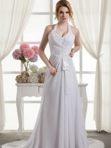 Classical Halter Top White Sleeveless Lace and Appliques and Ruching and Bowknot Wedding Dress