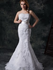 Elegant Mermaid White Sweetheart Lace Up Beading and Appliques and Bowknot and Belt Wedding Gown Brush Train Sleeveless