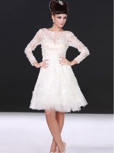 Long Sleeves Lace Knee Length Zipper Wedding Gowns in White with Lace