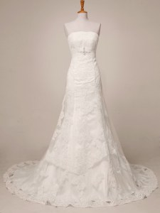 Graceful White Sleeveless Floor Length Lace Lace Up Wedding Dress