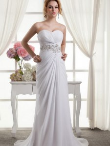 Suitable Chiffon Sweetheart Sleeveless Sweep Train Lace Up Beading and Ruching Wedding Gowns in White