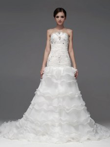 Fine White Lace Up Wedding Dress Beading and Ruffles and Ruffled Layers Sleeveless