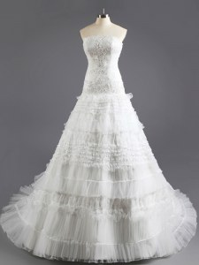 Fine Organza Sleeveless With Train Wedding Dresses Court Train and Beading and Appliques and Ruffled Layers