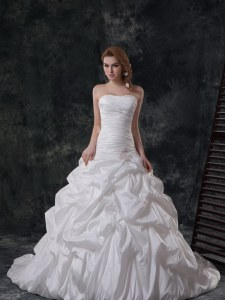 Elegant Pick Ups Strapless Sleeveless Brush Train Lace Up Wedding Dress White Taffeta