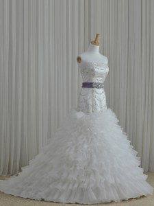 Sleeveless Beading and Ruffles and Belt Lace Up Bridal Gown