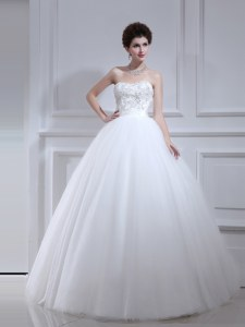 White Strapless Lace Up Beading and Appliques Wedding Gown Sleeveless