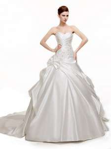 White Sleeveless Chapel Train Beading and Pick Ups With Train Wedding Gowns