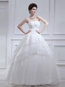 Wonderful Ruffled A-line Wedding Dresses White Strapless Organza and Taffeta Sleeveless Floor Length Lace Up