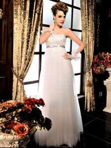 Custom Made White Strapless Neckline Lace and Belt Wedding Gown Sleeveless Lace Up