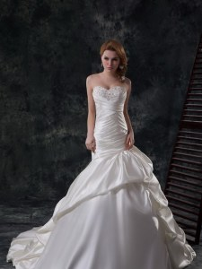 Cute Mermaid White Lace Up Wedding Dress Beading and Ruching Sleeveless Court Train
