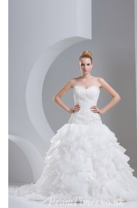 Ruffled Brush Train A-line Wedding Gowns White Sweetheart Organza Sleeveless With Train Lace Up