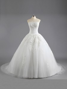Edgy White A-line Tulle Strapless Sleeveless Beading and Appliques With Train Lace Up Wedding Gown Court Train