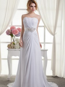 Beading and Ruching Bridal Gown White Lace Up Sleeveless Sweep Train