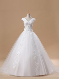 White Tulle Lace Up Wedding Gown Short Sleeves With Brush Train Beading and Appliques