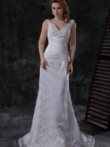 Custom Made Sleeveless Brush Train Beading and Lace and Appliques and Ruching and Bowknot Lace Up Wedding Dress