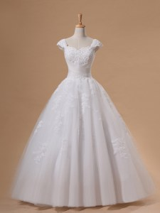 Sequins Floor Length White Bridal Gown Sweetheart Cap Sleeves Lace Up