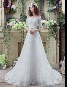 Best White Bridal Gown Off The Shoulder Short Sleeves Court Train Lace Up