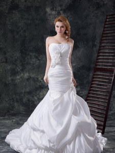 Great Mermaid White Taffeta Lace Up Wedding Gowns Sleeveless With Brush Train Beading and Pick Ups and Hand Made Flower