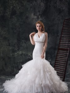 Mermaid Sleeveless Beading and Ruffles Lace Up Wedding Dress with White Brush Train