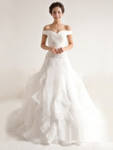 Elegant Off the Shoulder White Organza Zipper Wedding Dresses Sleeveless With Train Court Train Beading and Ruffles