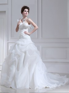 Fantastic One Shoulder Organza and Tulle Sleeveless With Train Wedding Gowns Brush Train and Ruffles and Ruching and Pick Ups