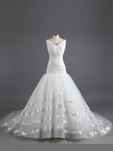Sleeveless Organza With Train Court Train Lace Up Bridal Gown in White with Ruching