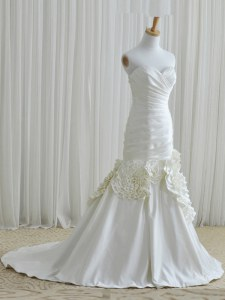 Mermaid White Sleeveless Taffeta Brush Train Zipper Wedding Dress