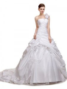 Flare White Organza and Taffeta and Tulle Lace Up Wedding Gowns Sleeveless With Train Court Train Ruching and Pick Ups