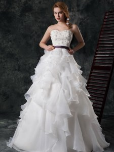 Ruffled Brush Train A-line Bridal Gown White Sweetheart Organza Sleeveless Zipper
