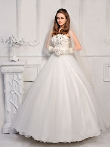 Inexpensive White Lace Up Wedding Dresses Beading Sleeveless Ankle Length