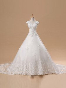 Shining White Short Sleeves Lace and Appliques Lace Up Bridal Gown