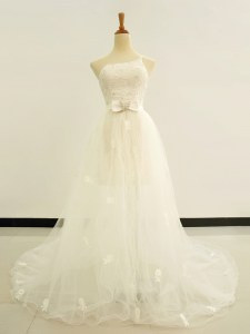 One Shoulder White Lace Up Bridal Gown Beading and Lace and Hand Made Flower Sleeveless Brush Train