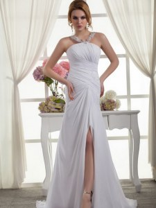 New Arrival White Chiffon Zipper Wedding Dress Sleeveless Court Train Ruching