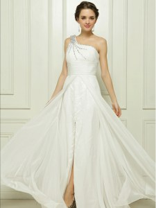 Fantastic One Shoulder Chiffon Sleeveless Bridal Gown Brush Train and Beading