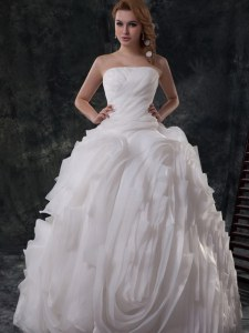 White Lace Up Strapless Ruching Wedding Gown Organza Sleeveless Brush Train