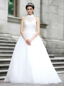 Super Tulle Sleeveless Floor Length Wedding Dresses and Lace