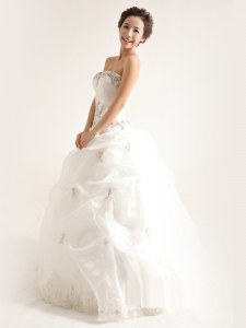 Most Popular White A-line Beading and Ruffles Wedding Dress Zipper Organza Sleeveless Floor Length