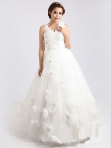 Scoop Sleeveless Tulle Sweep Train Zipper Wedding Gown in White with Appliques and Hand Made Flower