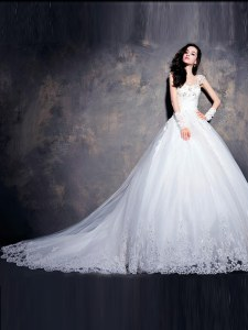 Cap Sleeves Court Train Lace Up With Train Beading and Appliques Wedding Gown