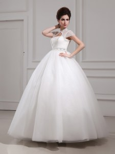 Halter Top White High-neck Neckline Beading and Lace Wedding Gowns Cap Sleeves Lace Up