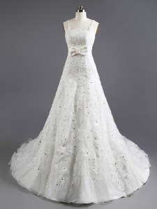 On Sale Sleeveless Chapel Train Lace Up With Train Beading and Appliques and Bowknot Wedding Gown