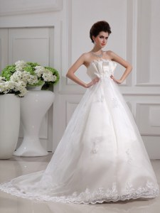 Chiffon Sleeveless With Train Wedding Gowns Brush Train and Beading and Appliques