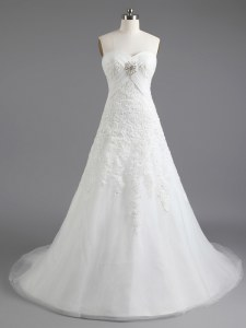 Top Selling White Column/Sheath Beading and Appliques Bridal Gown Lace Up Tulle Sleeveless With Train